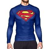 GYM GALA Superman Shirt Long Sleeve Casual and Sports Cool T-Shirt 3D Print Compression Shirt (Large,Blue)