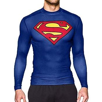 GYM GALA Superman Shirt Long Sleeve Casual and Sports Cool T-Shirt 3D Print Compression Shirt  Large,Blue