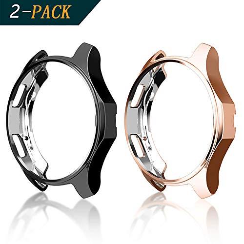 Cerike Hülle für Samsung Gear S3 Watch 46mm[2-Stück], Soft TPU vernickelt [Kratzfest] All-Around Schutzhülle für Samsung Gear S3 Frontier SM-R760 /Galaxy Watch 46mm SM-R800(46mm, Schwarz/Rose Glod)