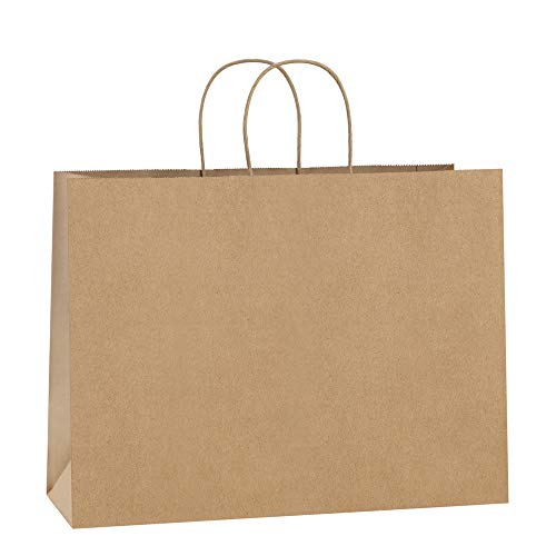 BagDream 100Pcs 16x6x12 Inches Kraft Paper Bags with Handles Bulk Gift Bags Shopping Bags for Grocery, Mechandise, Party, 100% Recyclable Large Brown Paper Bags