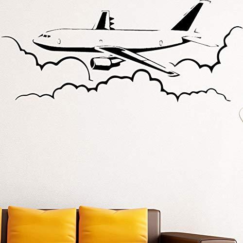 Flugzeug Wandaufkleber Wandtattoo Aufkleber Home Decor DIY Abnehmbare Kunst Wandbild für Wohnzimmer Schlafzimmer Wandtattoo Weiß XXL58cm X 144cm