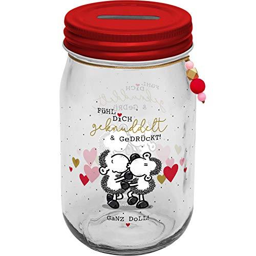 Sheepworld 46694 Glas Fühl Dich geknuddelt, Glasspardose mit Deckel und Einwurfschlitz Spardose, Mehrfarbig, Höhe 13,8 cm