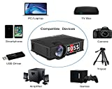 BOSS S4 HD 1800 Lumens LED Portable Projector Support USB/HDMI/VGA/AV Input/ Audio Input for Movies, Home Cinema, Theater, Training, Office, Auditorium, Restaurant