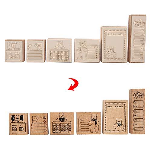 6 Stks Houten Rubber Stempel Mooie Beer Patroon Houten Seal Stempel voor Zuivel Boek Decoratie en DIY Ambachten