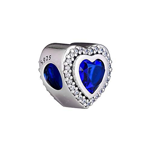 LISHOU Mujer Pandora S925 Plata Esterlina Brillante Noche Azul Amor Corazón Abalorios Moda Chica Pulsera Collares Fabricación De Joyas DIY