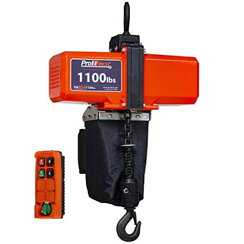 Prowinch PWBDH1100RU 1100 lb Mini Electric Chain Hoist (500 kg) G80 Grade Chain 10ft Lift (3 Meters) 110V/120V Wireless Control Overhead Crane Hook Mount Upper & Lower Limit Switch Automatic Brake