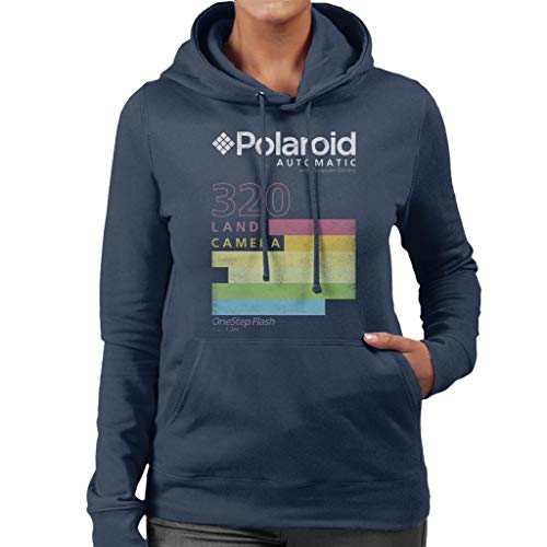 Polaroid Automatic 320 Land Camera Hoodie for Women, Navy or Black, S to XXL