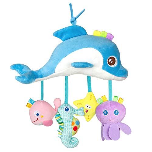MOOKLIN ROAM Juguetes para bebés, Juguete de Animales Suaves y Bonitos, Cochecitos de Peluche de Desarrollo Temprano, Sonajero Colgantes de Cuna para 0, 3, 6, 9, 12 Meses (Delfín)