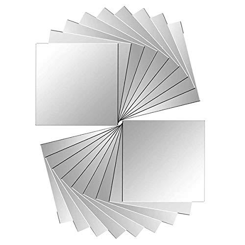 axuanyasi 18 Stück Spiegelfliesen Selbstklebend Abgerundete Ecke Spiegel Aufkleber Wandspiegel Zum Wanddekoration Silber 15 x 15 cm