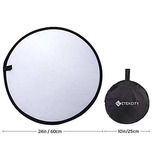 "Etekcity 24"" (60cm) 5-in-1 Portable Collapsible Multi-Disc Photography Light Photo Reflector for Studio/Outdoor Lighting with Bag - Translucent, Silver, Gold, White and Black"