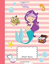 Sheet Music: Mermaid Rihanna Manuscript Notebook Paa | Pretty Beach Sea Horse Shell Starfish Chest Cover| Musician Composer Instrument Composition ... | Create, Compose & Write Creative Songs