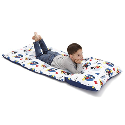 Disney Mickey Mouse Padded Toddler Easy Fold Nap Mat With Attached Pillow Case - Navy, Light Blue
