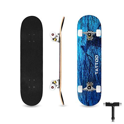bigzzia Skateboard Komplett für Kinder Jugendliche & Erwachsene Anfänger, Double Kick Maple Deck Concave Cruiser Skateboard mit T-Tool, Geburtstagsgeschenk für Jungen & Mädchen