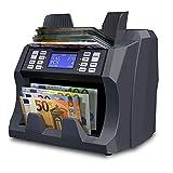 Detectalia V100 - Compteuse de billets EUR, GBP, PLN et CZK non triés avec détection des faux billets - Vérification des billets à 100% - 27 x 21 x 24 cm