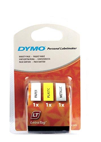 Dymo S0721800 LT Starter Tape (12 mm, 4-Meter-Rolle), schwarzer Druck auf gelb/Silber/weiß Papier/Plastik/Metallisch)