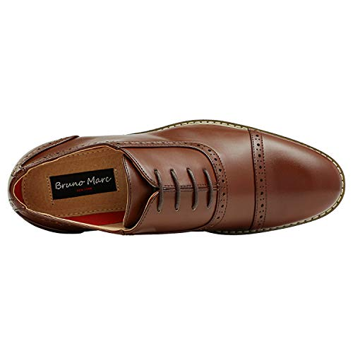 Bruno HOMME MODA ITALY PRINCE Men's Classic Modern Oxford Wingtip Lace Dress Shoes,PRINCE-5-DARK-BROWN,8.5 D(M) US