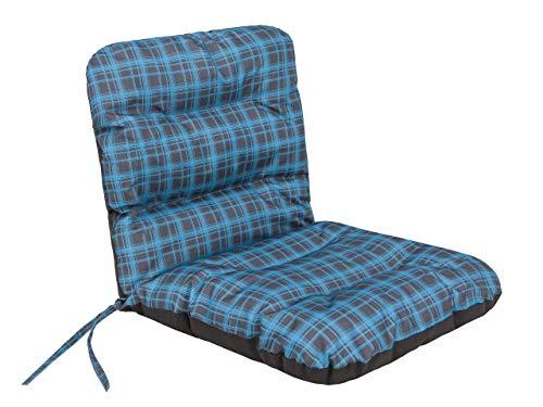 Sitzkissen für Niedriglehner Gartenmöbel - Kissen für Sessel, Gartenliege - Sitz abmessung - 48x48 cm Hoher 48cm - Gartenkissen Polster - Blau Kariert