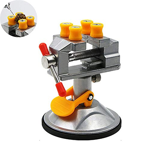 JIASHU 360 Degree Rotatable Vise, Rubber Suction Base Drill Press Vises, with Plastic Card Slot, for Jewelry Nuclear Craft Jade Clip on DIY Model Repair Carving Tool