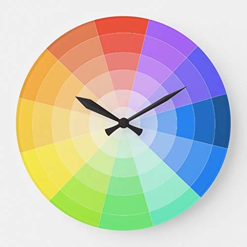 tian huan88 15 by 15-Inch Wall Clock, Artists Colorwheel Clock, Living Room Clock, Home Decor Clock