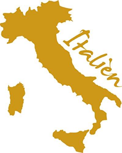 GRAZDesign 630044_40_820 Wandtattoo Wandaufkleber Aufkleber für Wohnzimmer Landkarte Italien Umriss (50x40cm//820 Mustard)