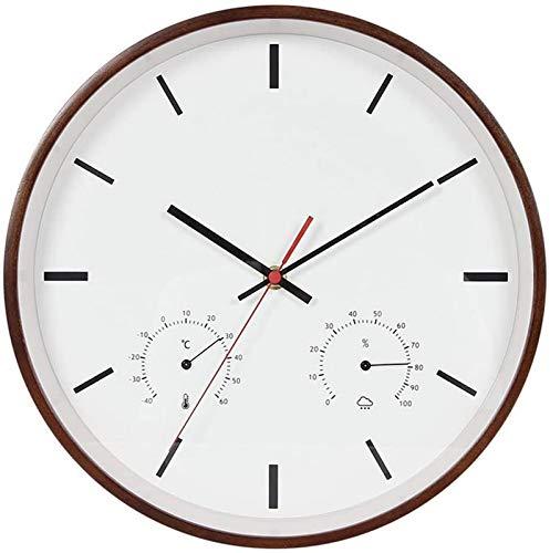 Wall Clock for Living Room, 14-Inch Round Classic Clock Retro Silent Non Ticking Quartz Decorative Wall Clock Wooden Decorative Wall Clock thermometer and Hygrometer
