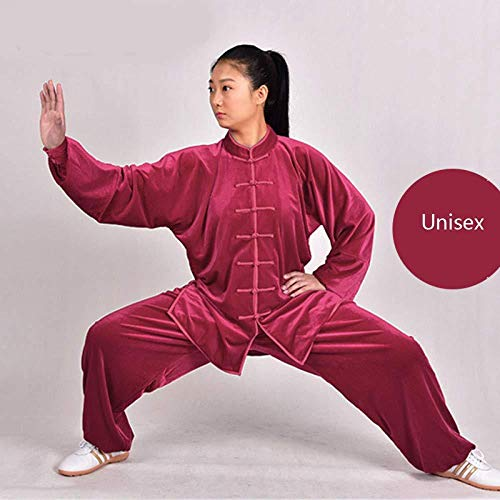 FLY FLU Tai Chi Femme,Homme Costume Tai Chi Unisexe Chinoiserie Velours Doré Shaolin Arts Martiaux Wing Chun Manches Longues Respirant Costume,Red-Medium