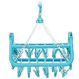 Zerone Percha de Ropa, hogar 32 Clips Percha de Ropa Plegable Secadora Calcetines Estante de Secado de Ropa Interior(Azul)