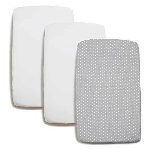 Niimo Spannbettlaken passend für Chicco Next2Me Bettlaken Bezug Set 2 Stuck 100% Baumwolle + 1 Wasserfester Matratzenschoner passend für Kinderkraft UNO Next 2 me 80x 53(Grau-Weiß Punkte)