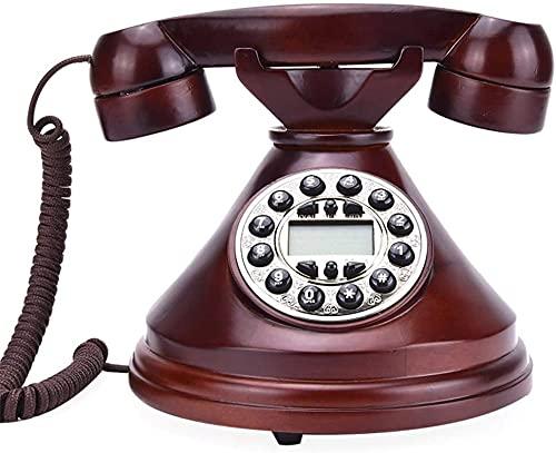 Teléfono Decoración Modelo Modelo de escritorio Decoración Vintage Madera Sólida Retro Teléfono Retro Home Landline Americano Botón Creativo Teléfono, Oficina Comercial Hotel Línea fija, Identificador