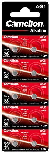 Camelion 12051001 - Alkaline Knopfzellen-Batterie ohne Quecksilber AG1/LR60/LR621/364 mit 1,5 Volt, 10er Set, Kapazität 14 mAh