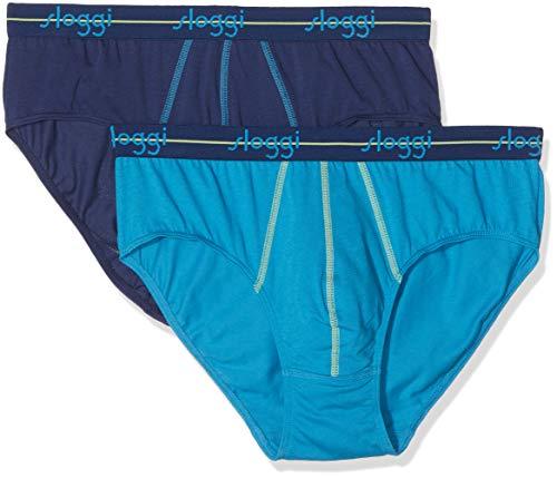 Sloggi for Men Men Start Midi C2p Bóxer, Azul (Aricona Blue V009), Medium (Talla del Fabricante: 5) (Pack de 2) para Hombre