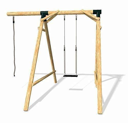 Loggyland 8011 - Holz-Schaukel-Set Energy aus Lärche/Douglasie mit Schaukelsitz und Kletterseil, Höhe 2.10m