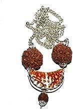 SATISFACTORY NATION Silver Plated Ek Mukhi Face Half Moon Rudraksha Mala/Single Face Rudraksha Locket/Pendant with White Metal Chain