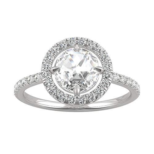 Charles & Colvard Moissanite By Charles & Colvard anillo grande - Oro blanco 14K - Moissanita de 7 mm de talla redonda, 1.562478 ct. DEW, talla 9,5