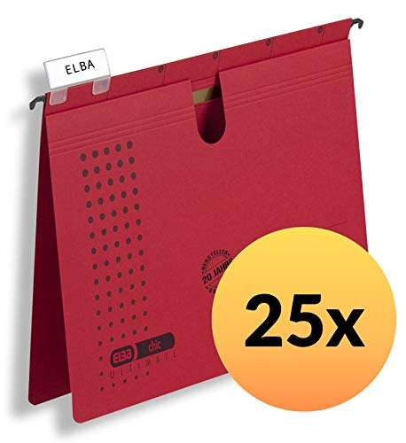 ELBA 100552097 Hängehefter chic ULTIMATE 25er Pack kaufmännische Heftung aus Recycling-Karton für DIN A4 in rot