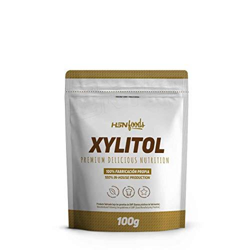 Xilitol de HSN | Edulcorante Natural Sin Calorías | Endulzante para Recetas Fitness | Sustituto del Azúcar | Apto Vegano, Sin Gluten, Sin Lactosa | En Polvo, Sin Sabor - 100g
