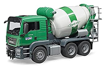 Bruder Toys - Construction Realistic MAN TGS Cement Mixer Truck with Rotating Mixing Drum and 2 Plug-in Drain Chutes to Empty Drum - Ages