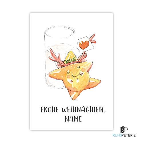 Weihnachtskarten mit Umschlag Frohe Weihnachten dicker Lebkuchen Mann mit Weihnachtsmütze personalisierbar
