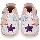 Miękkie skórzane buty do nauki chodzenia, do raczkowania, do domku dla niemowląt z zamszową podeszwą. Dla chłopców i dziewczynek 0-6 miesięcy 6-12 miesięcy 12-18 miesięcy, 18-24 miesięcy, 2-3 lata, fioletowy - gwiazdy - 12-18 Miesi?cy