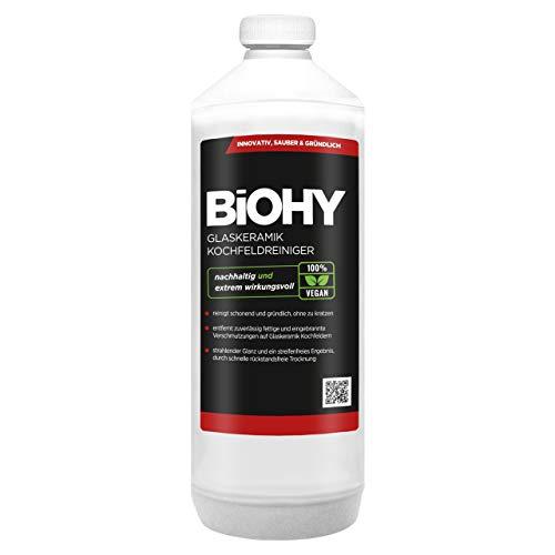 BiOHY Limpiador de vitrocerámica (1 botella de 1 litro) | Cocina radiantemente limpia, para electrodomésticos, Bosch & Siemens - brillo sin rayas (Glaskeramik Kochfeldreiniger)