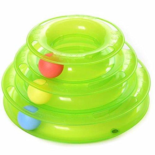 Tfxwerws Creative 3 couches pour animal domestique Chat divertissement jouet Intelligence Crazy Plateau de jeu (Orange)