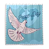 Badezimmer Duschvorhang Peace-Day Komposition mit weißer Taube Duschvorhänge Strapazierfähiger Stoff Badvorhang Wasserdicht Badezimmer Vorhang mit 12 Haken