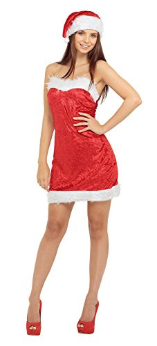 Bristol Novelty Ac823 Miss Santa Déguisement Sexy, Blanc, Taille 10–14, Size 10-14