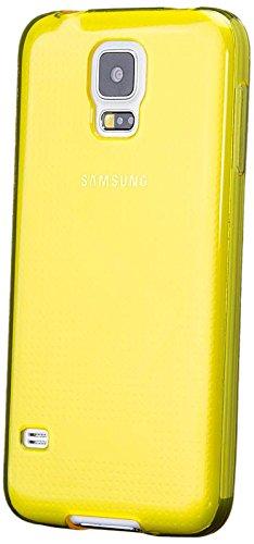 Samsung Galaxy S5 NEO & S5 | iCues trasparente TPU Giallo | protettore foglio trasparente della cassa della pelle del gel Sereno Sereno silicone protezione Coperchio Coperchio [Screen protector Compreso] Custodia Cover Case Tasca Borsa