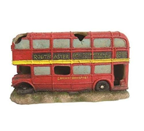Heritage bm129s Aquarium Fisch Tank Dekoration Londoner Bus Ornament Dekoration Rot 18 cm Hide