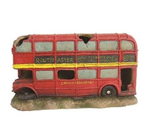 Heritage bm129s Acuario Tanque de peces diseño de autobús de Londres pintada a mano decoración rojo 18cm Ocultar