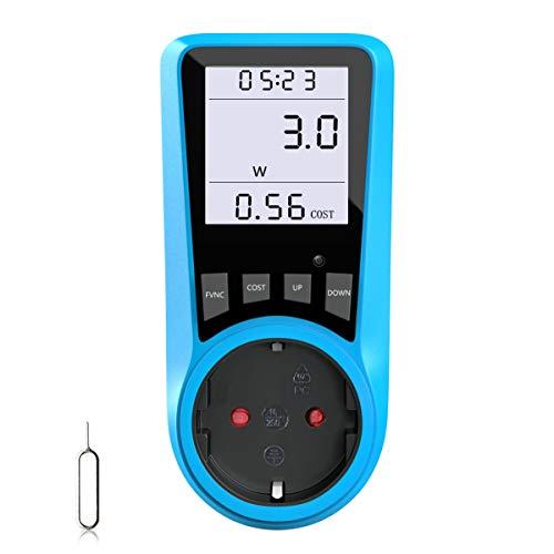 Stromkostenmessgerät, BMK Stromzähler Leistungsmessgerät Energiekostenmessgerät Strommessgerät Steckdose, Leistungsmesser Messgerät mit Größer LCD Bildschirm, Überlastsicherung 3680W (1pcs) (1pcs)
