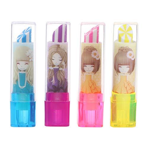 Qianqian56 kleurrijke schattige roterende lippenstift rubber gum student briefpapier potlood kinderen studenten cadeau