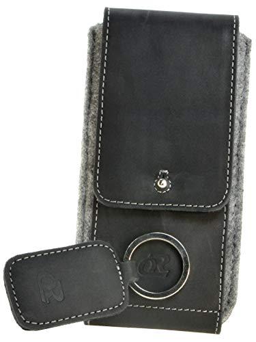 OrLine Handytasche passend für Alcatel Idol 3C mit Silikon Hülle. Hülle mit Verschluß & EC-Kartenfach aus Echtleder. Schwarz-Grau Etui aus Leder & Filz mit die Schlüsselan.