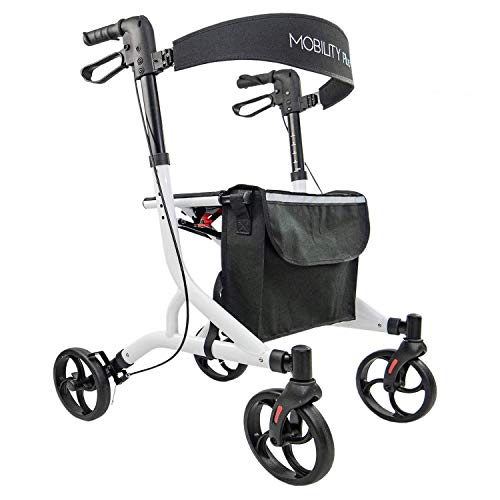 LR10+ Leichtgewichtrollator - Indoor und Outdoor Rollator - Gehwagen, klappbar, Höhe einstellbar, Weiß, inkl. Tasche